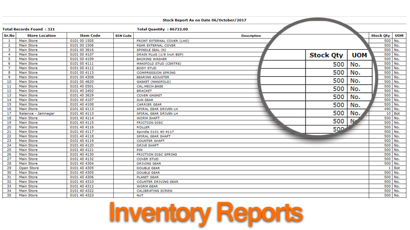 Billing Inventory Reports