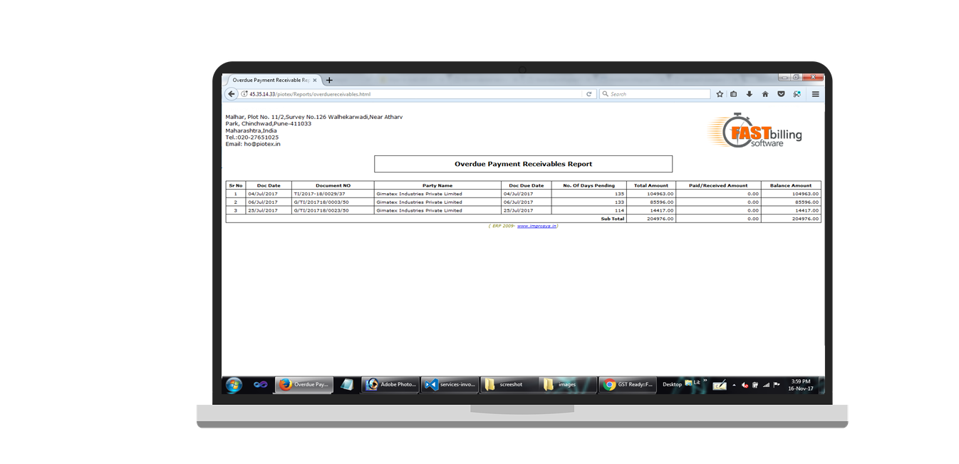 Services screenshot of invoice